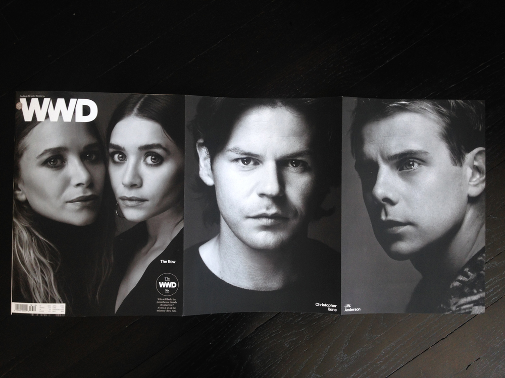 Triple gatefold B, featuring The Row, Christopher Kane and J.W. Anderson. Photography by Nigel Parry.