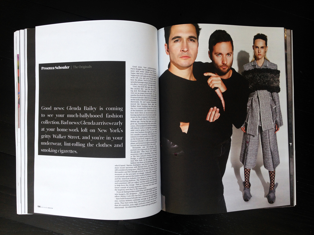 First turn page of the Proenza Schouler profile.