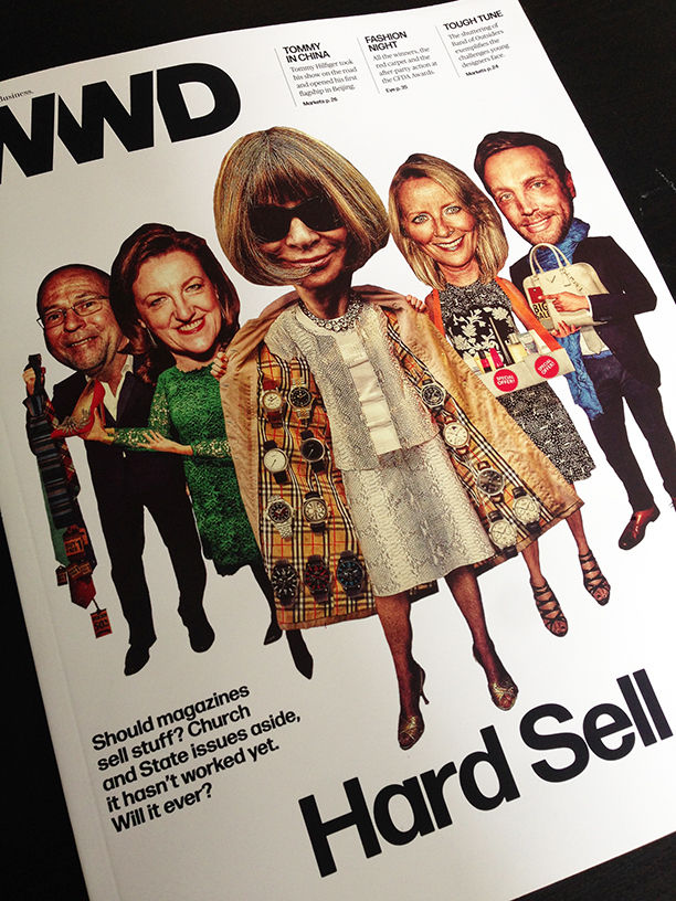 Illustration by Javier Munoz. Left to right: Esquire's David Granger, Harper Bazaar's Glenda Bailey, Vogue's Anna Wintour, Allure's Linda Wells and InStyle's Ariel Foxman
