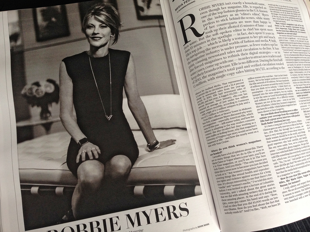 Robbie Myers, editor in chief of Elle. Photographed by Mark Mann