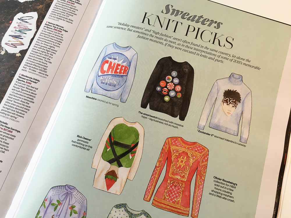Memorable fashion moments of 2015 as holiday sweaters. Illustration by Megann Stephenson