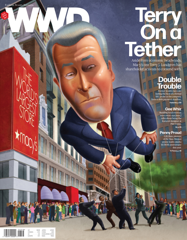 Macy's CEO Terry Lundgren, illustrated as a parade balloon controlled by investors by John Berkeley.