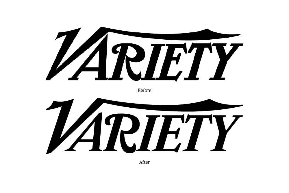 By 2013, the Variety logo was long over-due for a face lift (108 years to be exact). The stylish yet wonky letterforms created an instantly recognizable word mark (primarily due to the flying V and the curly R), but little effort had ever been made to make these shapes work well together as a whole. I called up Jim Parkinson to resolve five glaring problems: scale (the extra large A and diminutive R, condensed E and T), spacing (squished IET), perspective (the R is falling backwards), balance (where to begin!?), and the inconsistent terminals seen in the various swashes and serifs (some sharp points, some flat, others rounded). The new logo appears more refined and confident while preserving the original character and visual equity of the previous mark.
