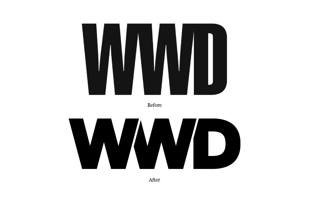 Originally set in blackletter as 'Women's Wear Daily', the fashion trade paper (now simply called WWD) started using Swiss Extra Compressed in the mid 90's for their logo, crashing the letters into one another to create an awkward mashup of varying stroke weights and negative spaces. Using Cyrus Highsmith's Salvo Sans as a starting point, I linked the W's to create a continuous zig-zag pattern and tucked the D in slightly on the end to balance the negative spaces. I then experimented with tints and shades of color to create a zipper pattern which created depth and a bit of fun . . . until Christian Schwartz laughed upon seeing this and suggested that I couldn't be seriously considering it. I quickly added gaps between each letter and sent the sketch off to Jesse Regan who tweaked the proportions a bit and rebalanced the counter forms. The new logo is clearer, allowing each letter to be visible on its own, and stronger as a more cohesive structure.