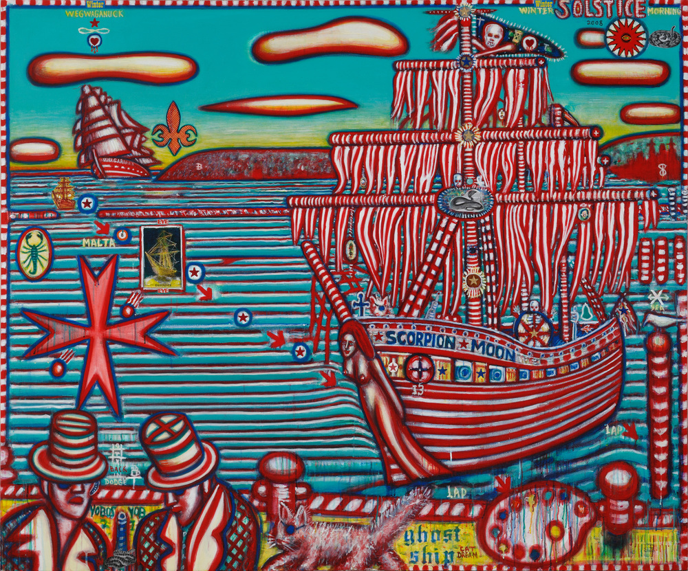 David Slater, Ghost Ship, 2009, mixed media on canvas, 60 x 72""