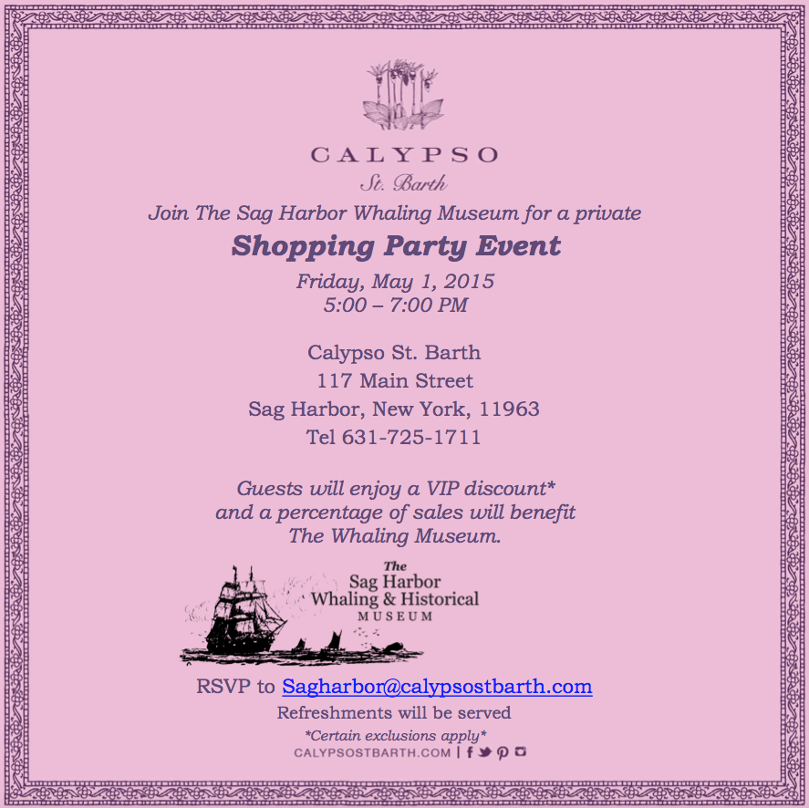 Shopping Party Event at Calypso The Sag Harbor Whaling