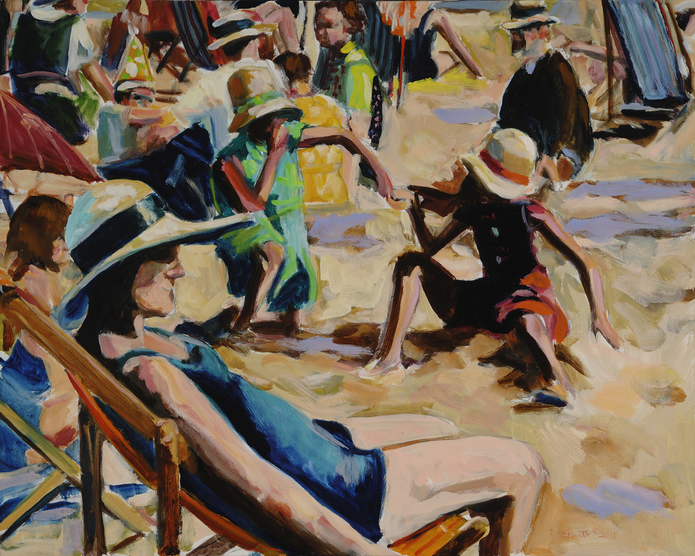 Dinah Maxwell Smith, A Day at the Beach, oil on canvas, 24 x 30""