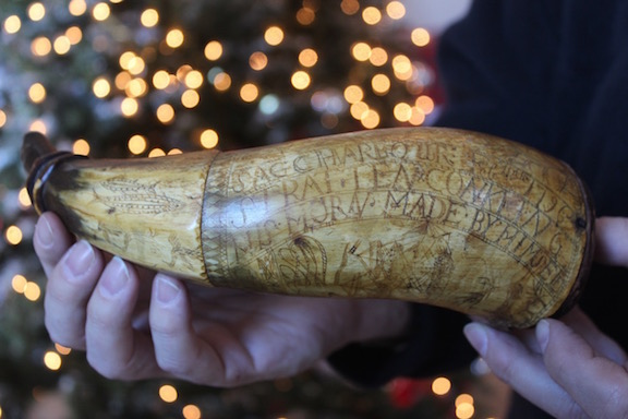 The 1796 powder horn.  A. Hinkle photo.
