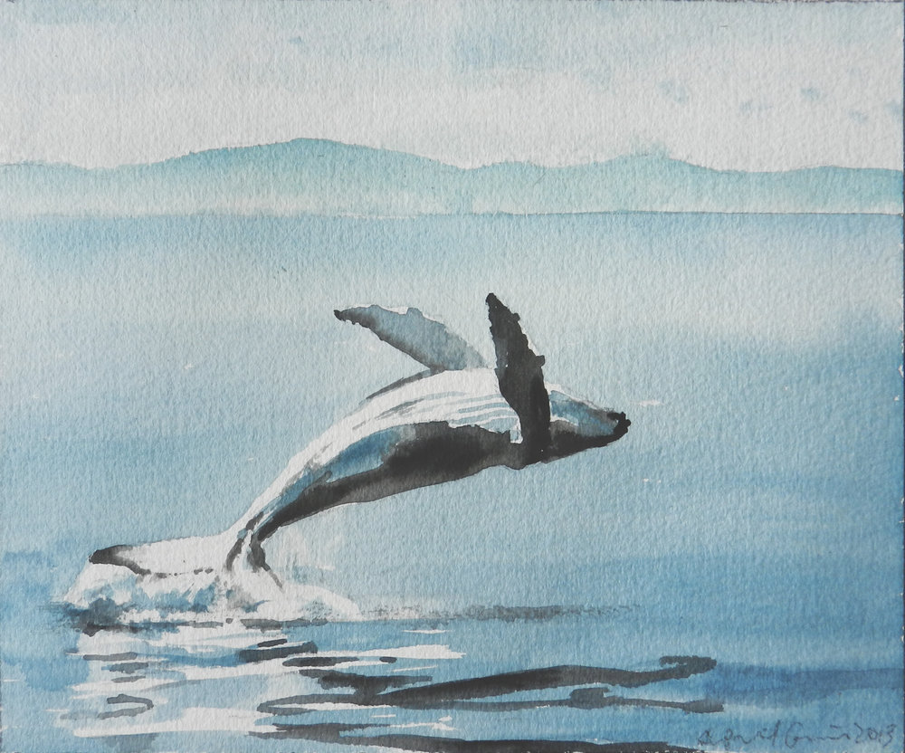 "April Gornik ""Pocket Whale"" Watercolor on paper 2013"