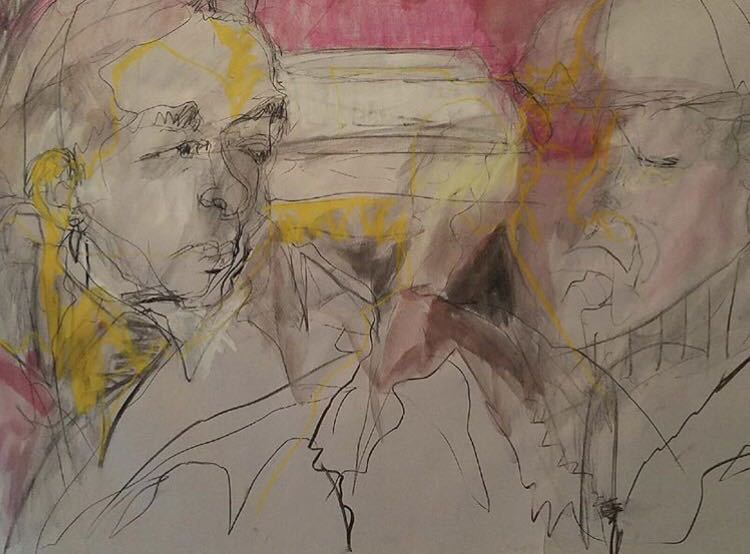 'Castelli and Mary Montes Rauschenberg in Car,' charcoal and pastel in paper, 23×35 by Mary Montes.