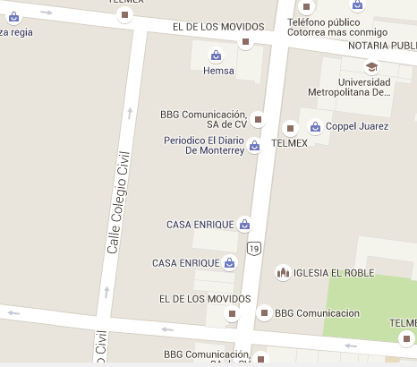 Google's map's view of Calle Colegio Civil, the street appears to be quiet and enterprise-less, next to its formal counterpart.