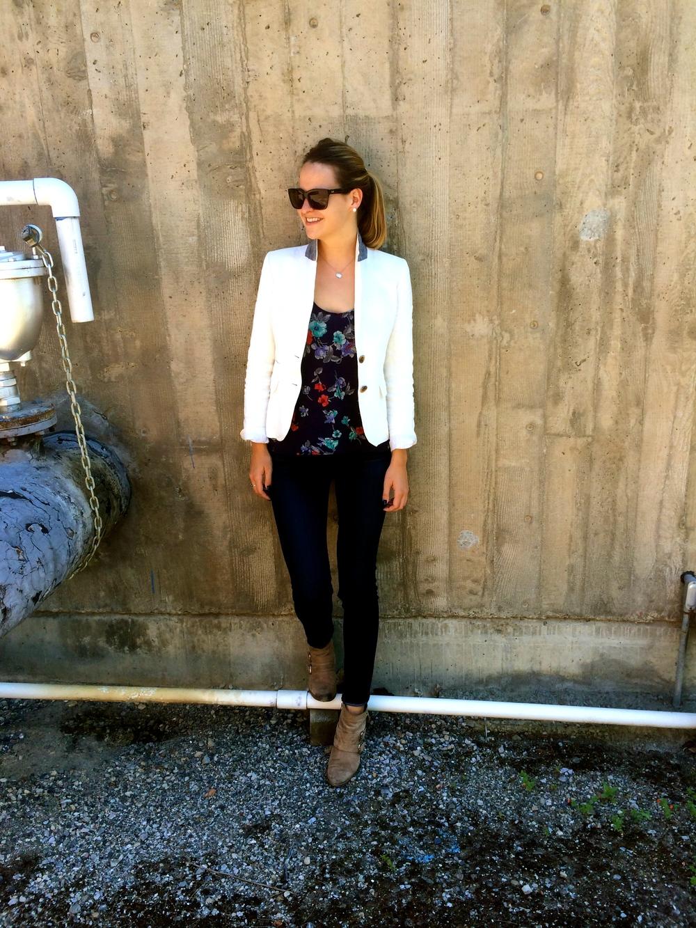 Glasses: Dolce & Gabbana Blazer: J.Crew Tank: Urban Outfitters Jeans: Adriana Goldschmiedt Booties: Dolce Vita Necklace: Tiffany