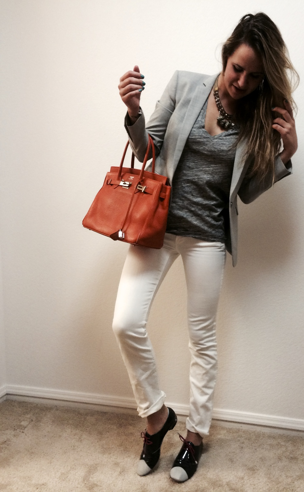 Blazer: Theory; Heather V-Neck, Gold Necklace & White Jeans: J.Crew; Rock Necklace: Urban Outfitters; Purse: Hermes Birkin Bag 25cm; Patent Leather Oxfords: Nicholas Kirkwood; All photos by: Kristine Constantino