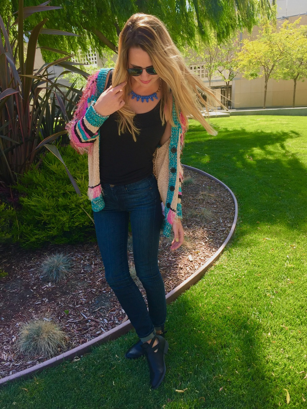 Sweater: Mink Pink; Sunglasses: Nordstrom's; Tank: Touvre; Jeans + Necklace: J.Crew; Booties: Target