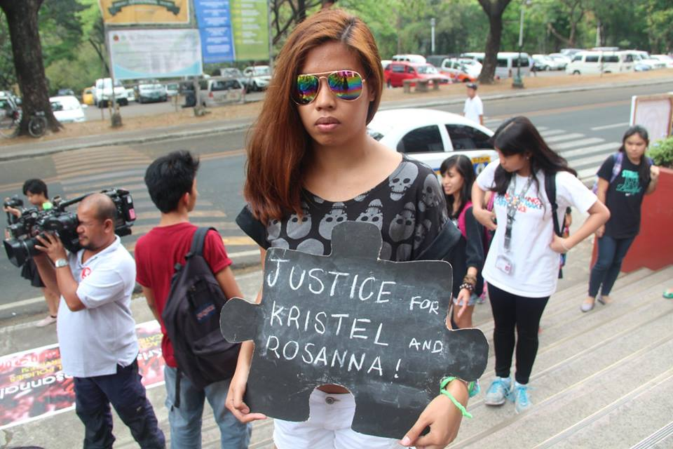 Seyra @ 2015 Protest in memoriam of (2) college students, Kristel and Rosanna, whom committed suicide due to high tuition fees