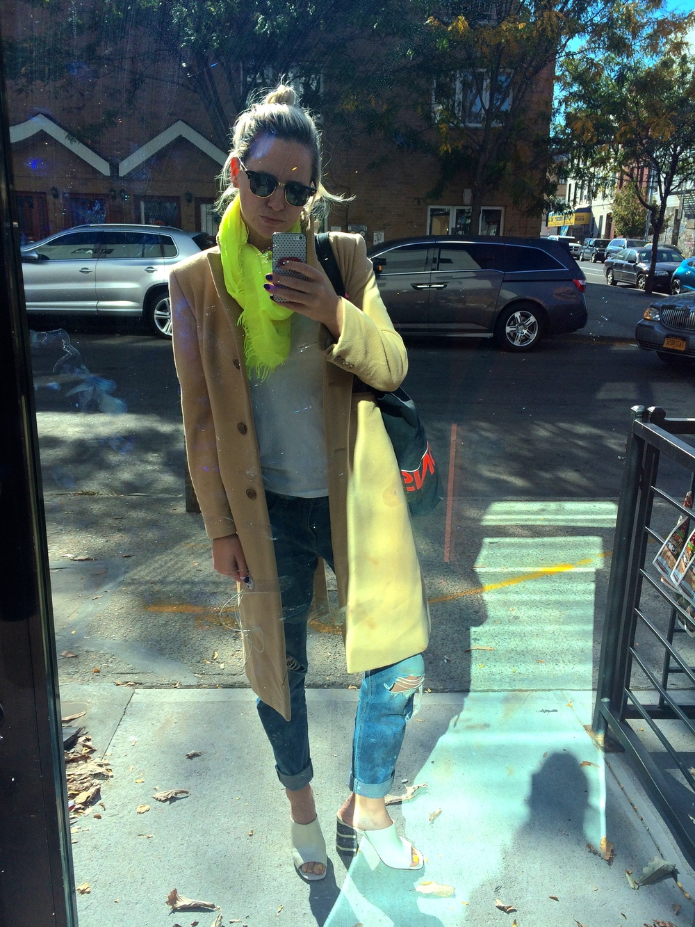 Scarf + White Tee + Camel Coat: J.Crew; Boyfriend Jeans: Rag + Bone; Mule Sandals: Cole Haan; Sunglasses: Ray Ban