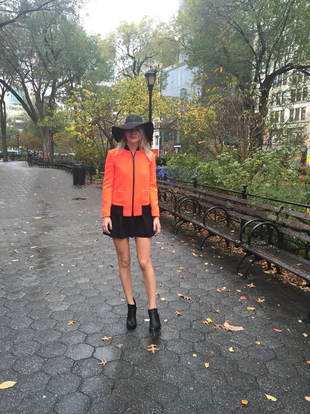 Floppy Hat: American Apparel, Neoprene Bomber: Valentino, Black Dress: Beacon's Closet, Black Booties: Sam & Libby, Location: Union Square Park, Photos: Elena Baltzoglou