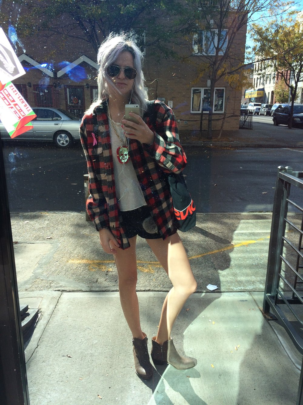 Flannel (my brother's) Long Sleeve Shirt (Amanda's) Necklace (Tanya's) Shorts (Madewell) Booties (Lucky Brand) Location: Bushwhack Brooklyn, New York