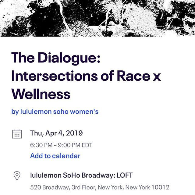 Excited to participate in another panel discussion with @lululemonnyc- this time at the Loft on Broadway. We're discussing something that is near and dear to my heart and the center if my work- the intersection of #race and #wellness. Let's discuss access, the importance of affinity classes, trauma in the black community, and the healing of not just ours but our ancestor's pain. I'm happy that #lululemon is ready to have this conversation- can't wait to push beyond words and into action! Next Thursday- one week! It's free! Let's build! Link in the bio. #yogaforblackpeople #generationaltrauma #healing #love #dothework #Practice #aditiflow #flow #creativewellness