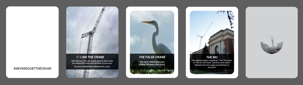Some example cards from I Am the Crane, the original MU Crane card game I designed for this project.