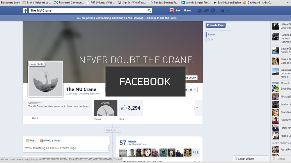 Click the image above to see the Crane's Facebook page.