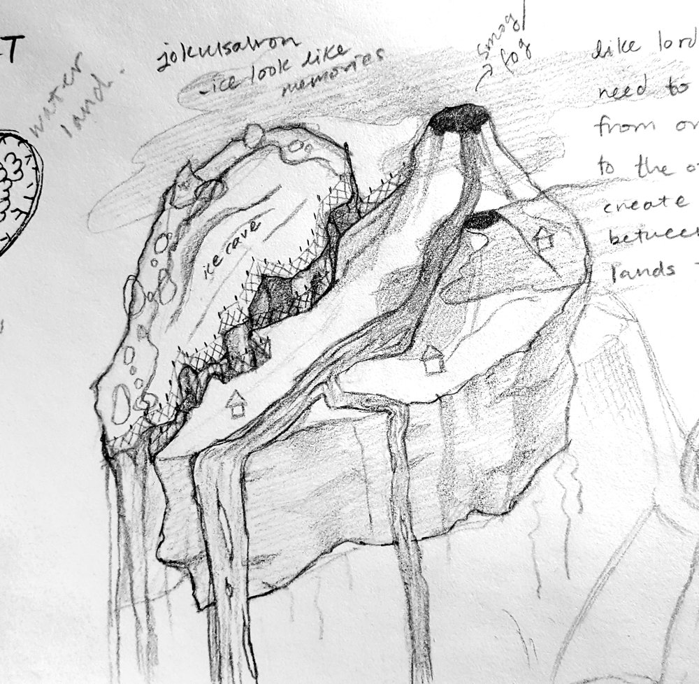 Concept - Explore the fantastical landscape of a broken heart, represented as two heavily polarized natural environments.