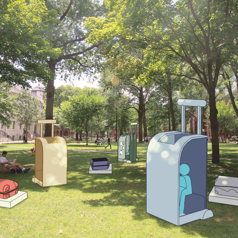 Traveler's Booth - Public Art Proposal for Harvard Yard