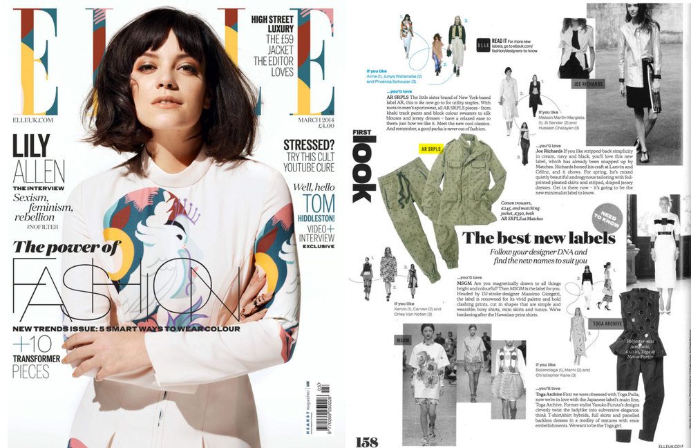 AR SRPLS was featured in the ELLE UK's March 2014 issue as one of the 'Best New Labels'