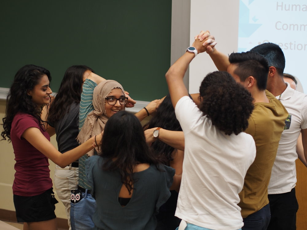 Our New Members getting to know each other while trying to unravel from a human knot! They will get the chance to meet more Enactus members at the New Member Retreat coming up on September 30th.
