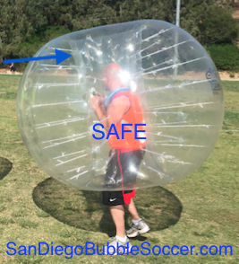 Our company's oversize bubbles are custom-designed with very deep head clearance and locking straps for player safety.