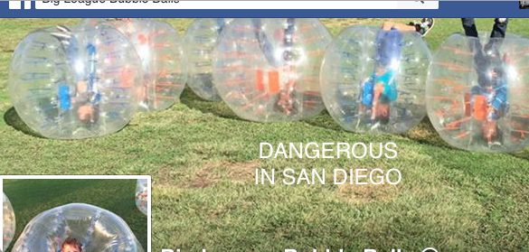 A San Diego business puts children in bubbles that risk severe head/spine injury. (From their Facebook.)