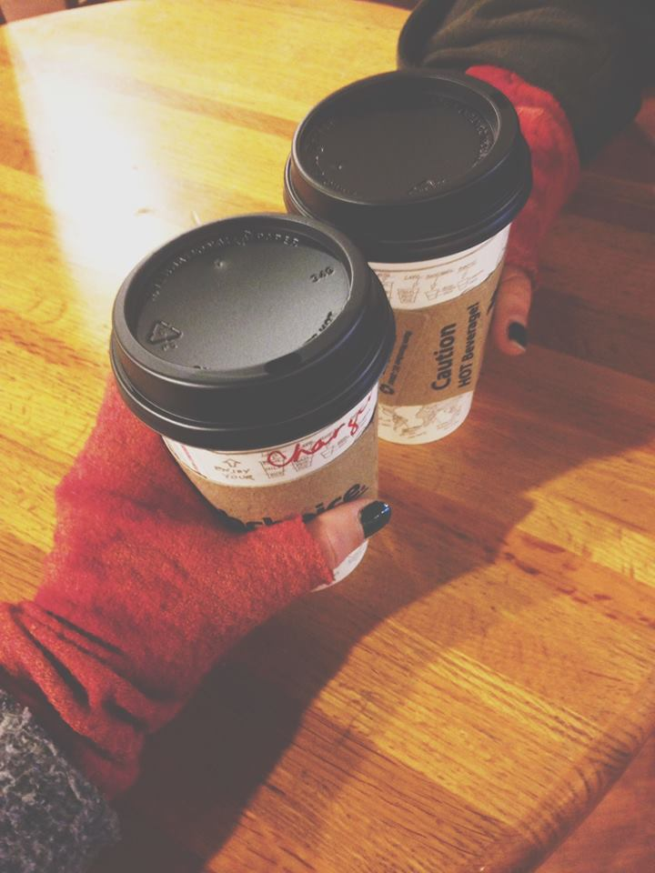 OUR NEW FAVORITE DRINKS WITH OUR FAVORITE ARAE FINGERLESS ARM WARMERS! CHAI CHARGERS :)
