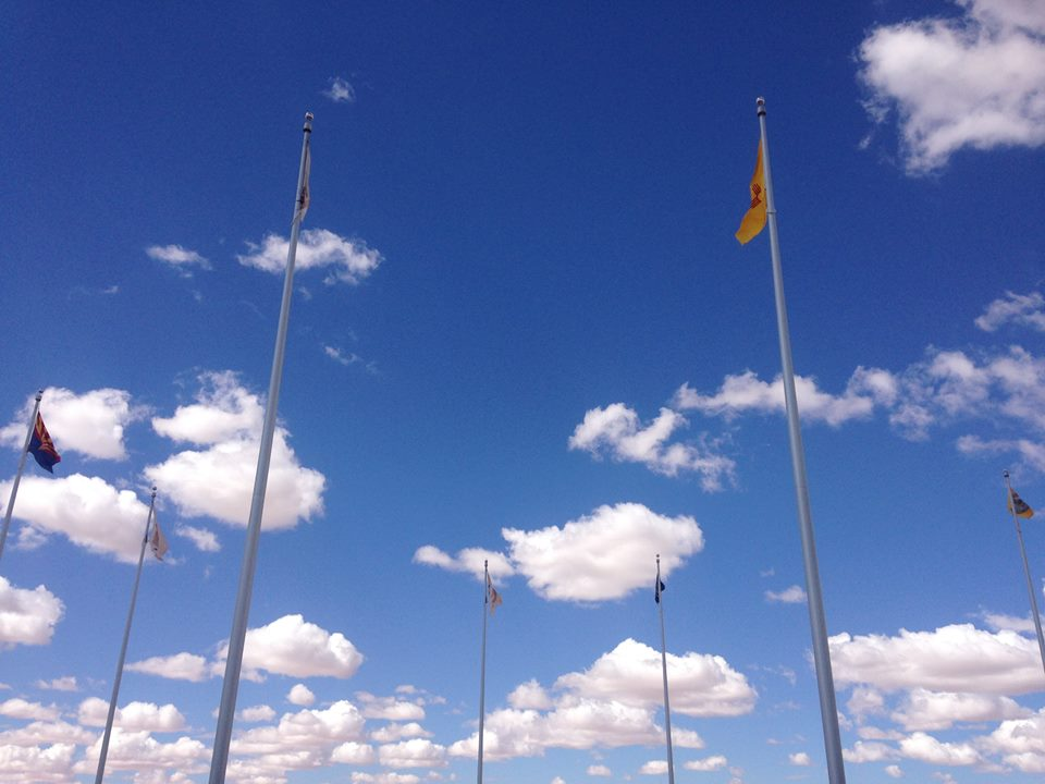 State flags at the 4 corners: New Mexico, Arizona, Utah, Colorado