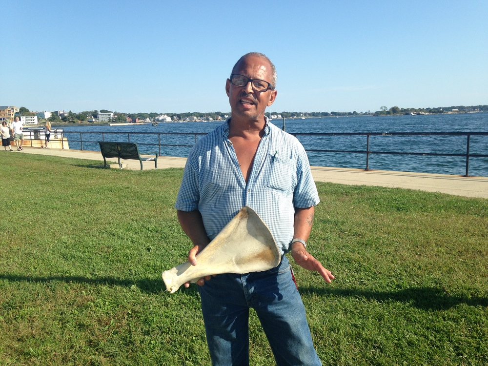 David's father, a chief of a Wampanoag Native American tribe, brought this buffalo shoulder bone back from South Dakota in the 1980s, where he'd frequently travel to participate in sweat lodge rituals.