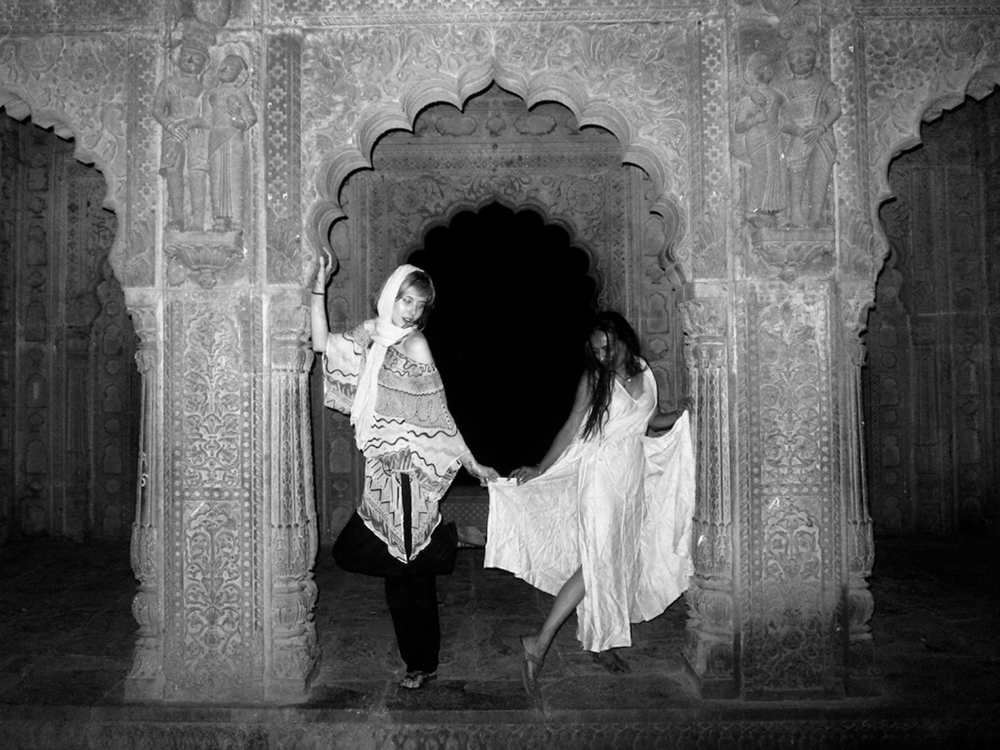 Paula Goldstein and Nikkat Grewal under the moonlight in the Shiva Temples