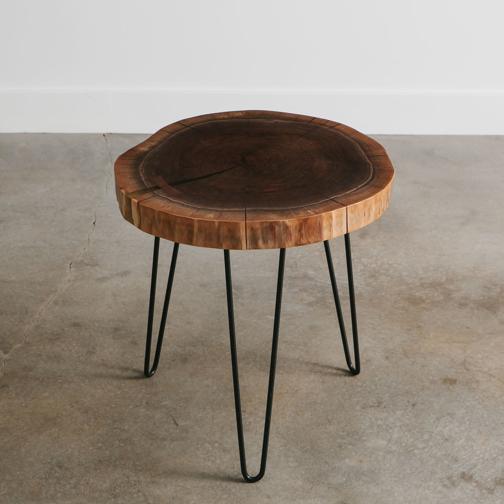 Modern Walnut Live Edge Side Table