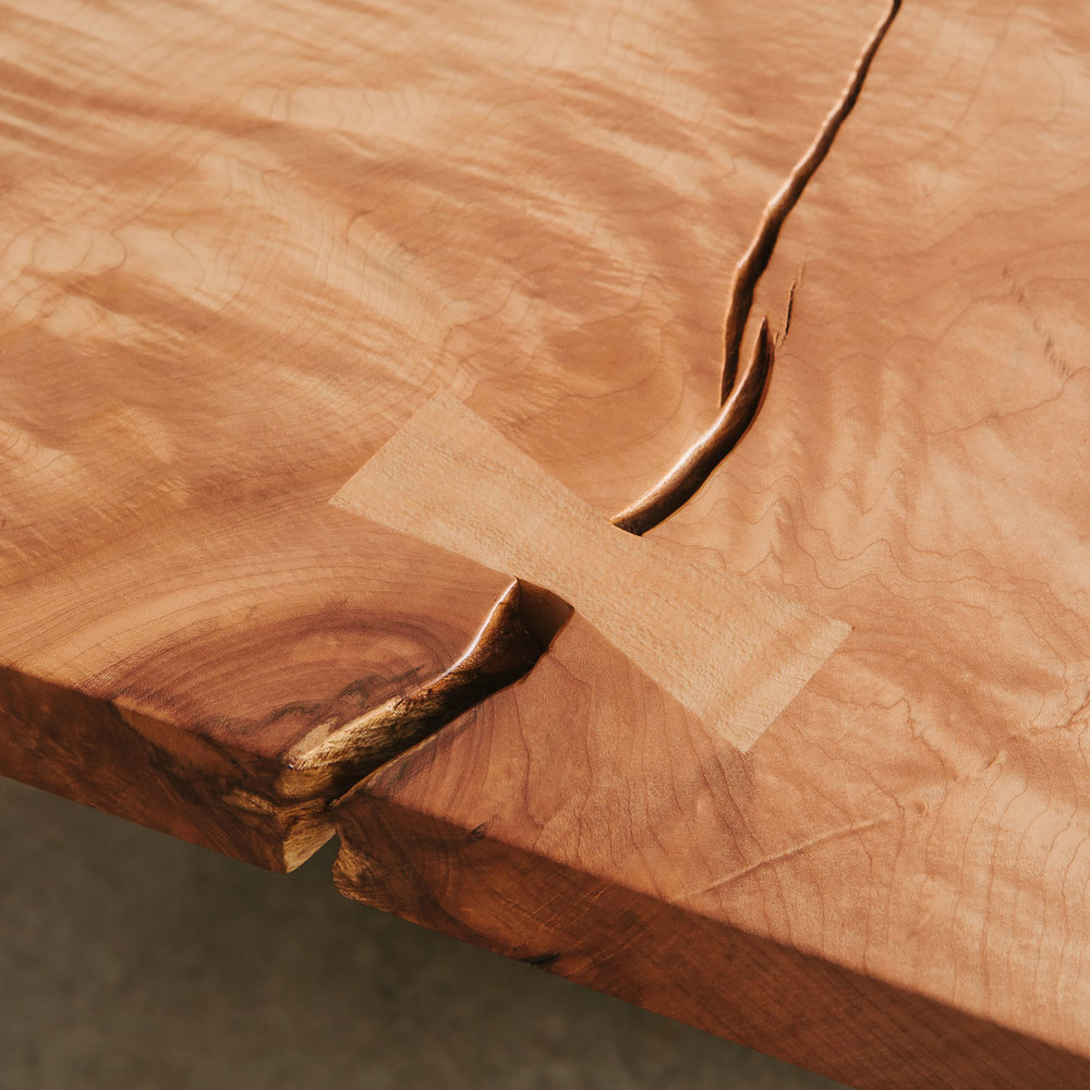 Butterfly joint detail on a maple coffee table
