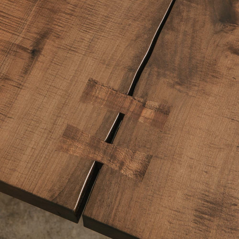 Butterfly joint detail from an ebonized maple coffee table