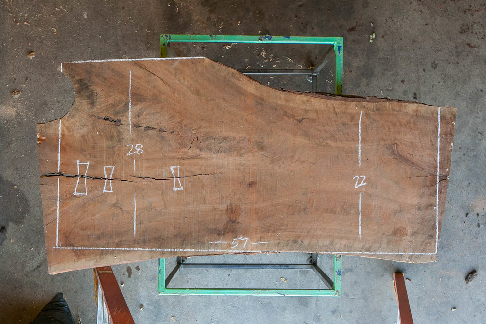 A snapshot of our design process on a live edge cherry slab