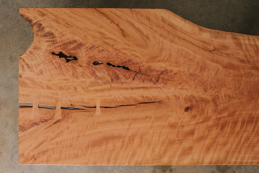 The same cherry slab as a finished coffee table