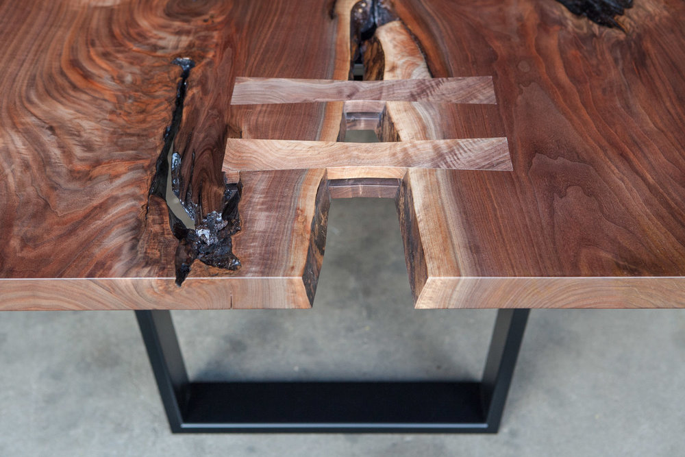 Walnut live edge table with butterfly joints