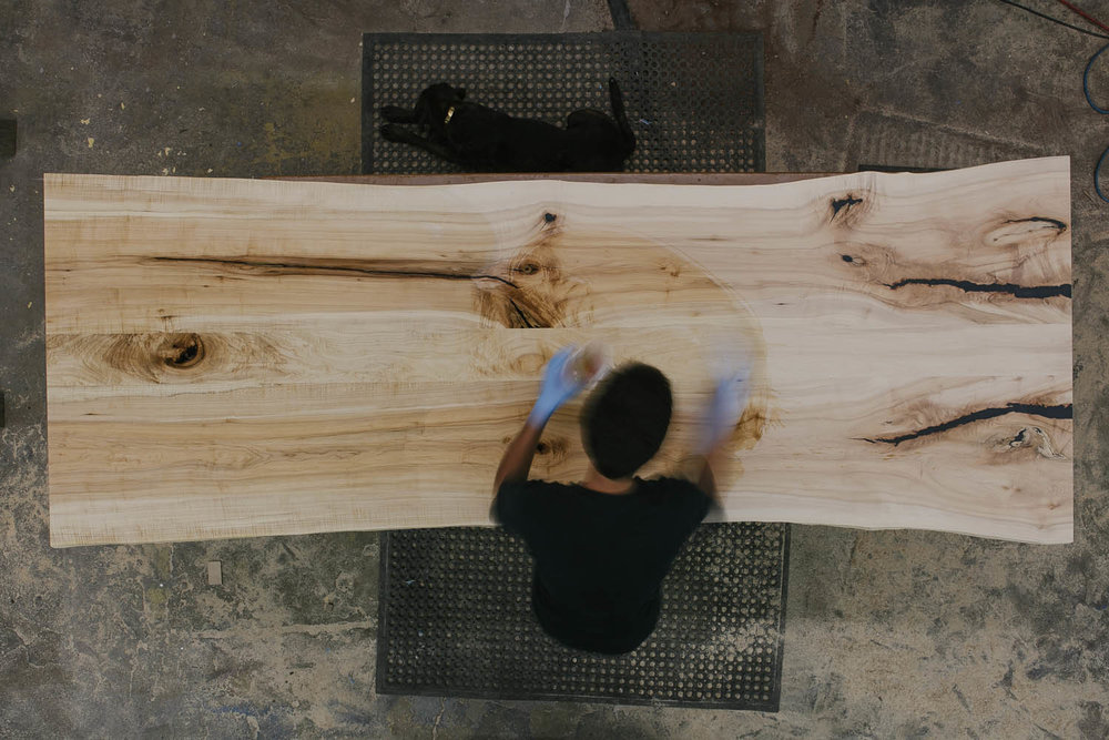 Ebonizing and staining the maple slab.
