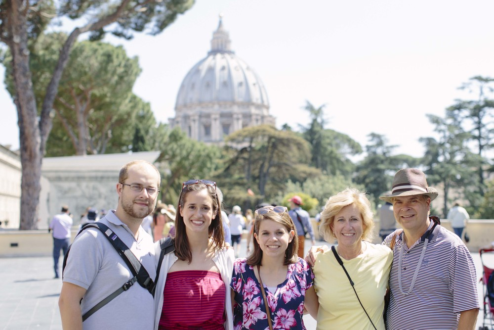 A family photo in front of St. Peter's