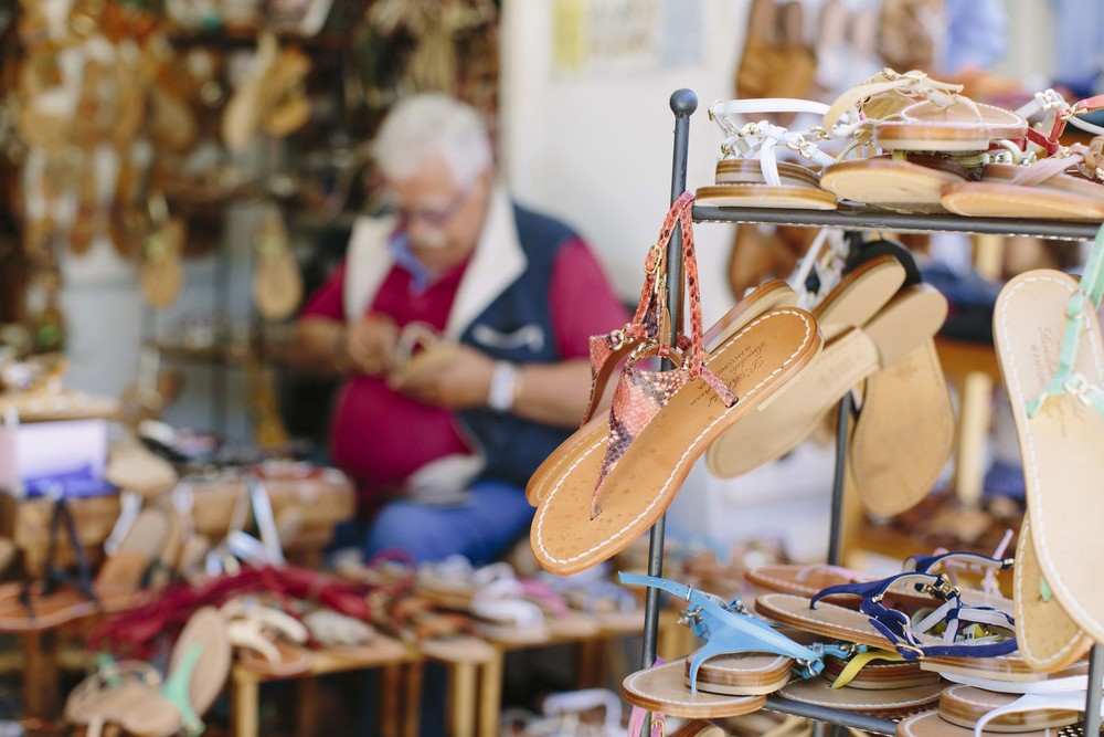 We had sandals handmade by Antonio ofAntonio Viva: L'arte del Sandalo Caprese. He has been crafting custom sandals since 1958. He tailors them specifically to your foot, size and preference and does an amazing job (and his team provides incredible service!)