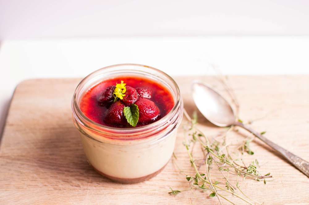 Pot de Creme with Roasted Strawberries