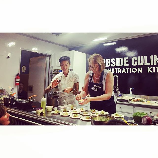 @kristenlkish cookin' up some lobster rolls with black truffle and sauce made from raw brioche dough. OMG, yum! And Kristen is SO nice!! #pnwspring #seattle #seattlefood #kristenkish #pnw #tastewashington