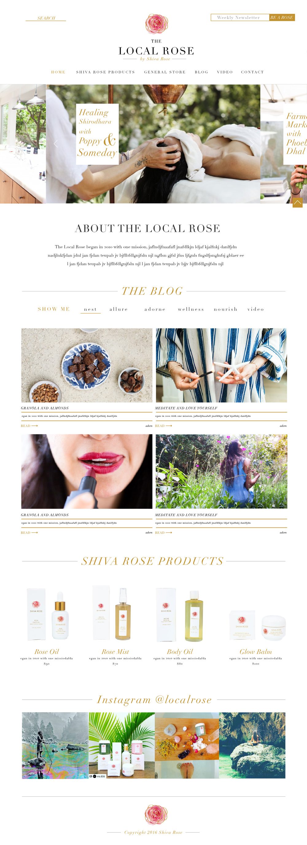 Shiva Rose Blog Design & Rebrand