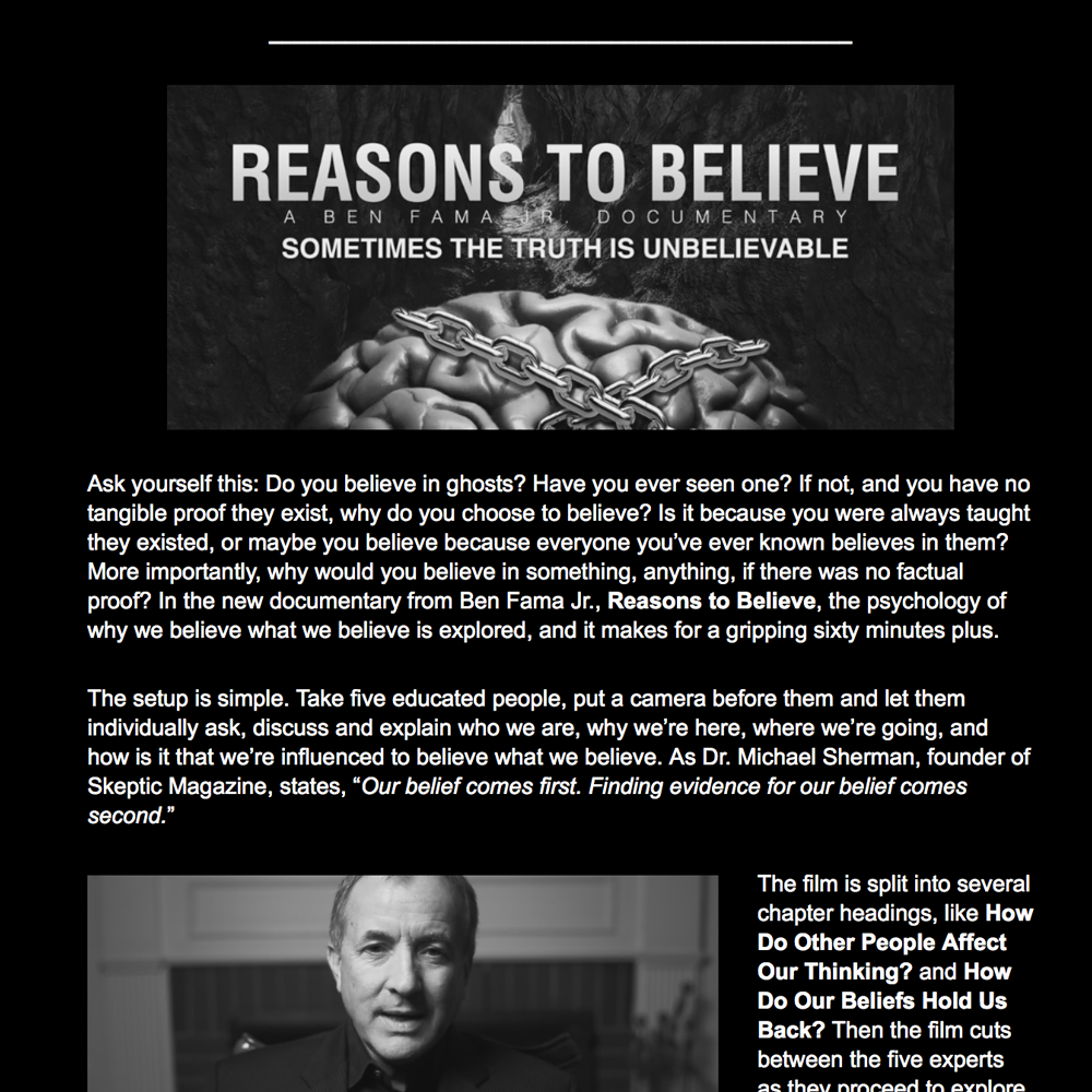 Reason To Believe Review: 23rd Sedona International Film Festival by David Appleford