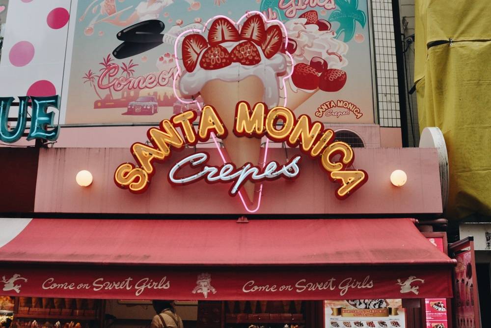 The ever so famous Santa Monica Crepes located in Harajuku.