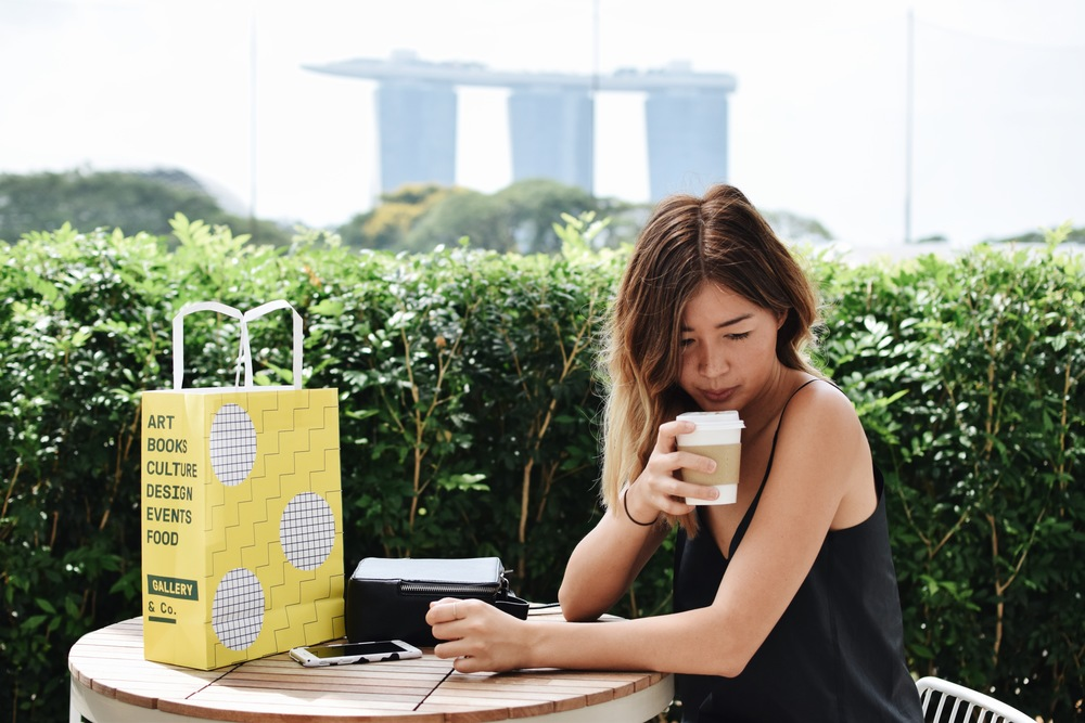 Coffee, always. Enjoying this one at a little cafe inside the National Gallery of Singapore.